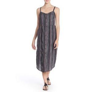NEW SUSINA Textured Stripe Button Front Midi Dress